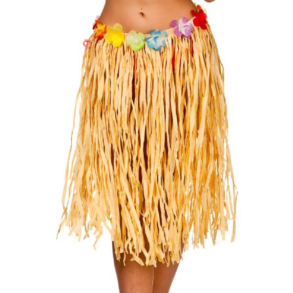 Ladies Deluxe Authentic Raffia Hula Skirt 60cm Womens Hawaiian Tropical Fancy Dress